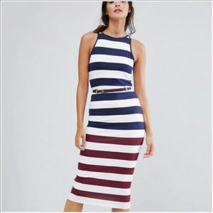 TED BAKER Rowing Navy Stripe Bodycon Dress NWT